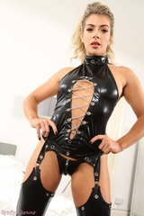 Tillie Takes Off Her Leather Lingerie